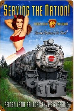 """PENNSYLVANIA K-4"" RAILROAD RAIL GIRL TIN SIGN / PRR railroad  train art #Signs"