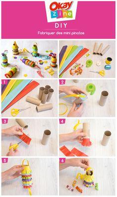 DIY : Fabriquer des mini piñatas pour les enfants avec des rouleaux d'essuie-tout #anniversaire #enfants #diy #fete #okayzine #essuietout Mini Pinatas, First Birthday Parties, Girl Birthday, First Birthdays, Diy For Kids, Crafts For Kids, Paper Crafts, Diy Crafts, Mexican Party