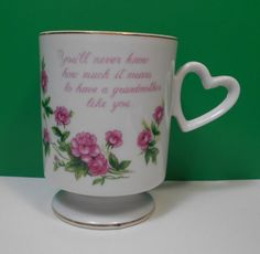 Lefton China Grandmother Heart Handle Cup