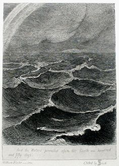 And the waters prevailed upon the earth an hundred and fifty days.  William Bell Scott after William Blake, 1878. Etching