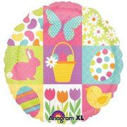 "Anagram Colorful Fun Spring Easter Round Mylar 18"" Foil Balloon"