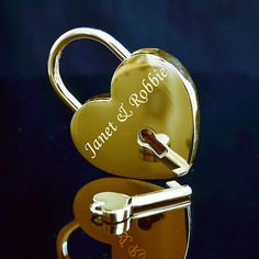 Text Engraved Gold Padlock  with Key by EngravedMemoriesUK on Etsy