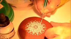 """I Sassi dell'Adriatico / Mandala drawing on stone by SehnazBac she uses a """"dip"""" pen and this one is gorgeous"""