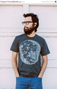 Moon t-shirt - men's full moon screenprint on heather black - fall fashion - for him for men - Blackbird Tees