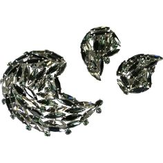 Sherman Black and Smoke Rhinestone Brooch & Earrings - available in our shop The Vintage Jewelry Boutique on Ruby Lane.