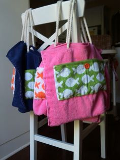Faux-Sew Beach Bags from a hand towel and a washcloth