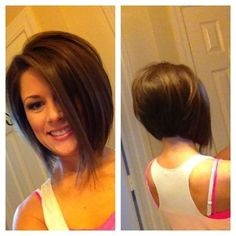 10 chic inverted bob hairstyles easy short haircuts popular short angled bob hairstyles with bangs Easy Short Haircuts, Inverted Bob Hairstyles, Haircuts For Fine Hair, Short Hairstyles For Women, Short Hair Cuts, Short Hair Styles, Popular Haircuts, Formal Hairstyles, Stacked Hairstyles