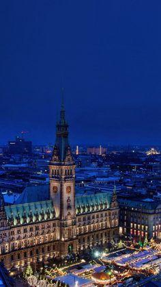 Christmas Blue Night Winter City iPhone 6 wallpaper