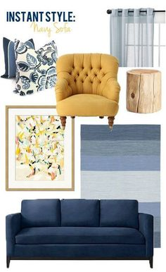 Navy Blue and Yellow Living Room. 20 Navy Blue and Yellow Living Room. Blue And Yellow Living Room, Blue Couch Living Room, Navy Living Rooms, New Living Room, Bedroom Yellow, Mustard Living Rooms, Navy Blue Couches, Yellow Couch, Navy Sofa