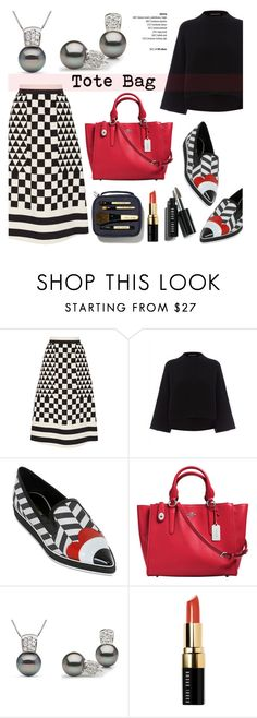 """""""Tote Bags"""" by pearlparadise ❤ liked on Polyvore featuring Valentino, Jaeger, Nicholas Kirkwood, Coach, Bobbi Brown Cosmetics, women's clothing, women's fashion, women, female and woman"""