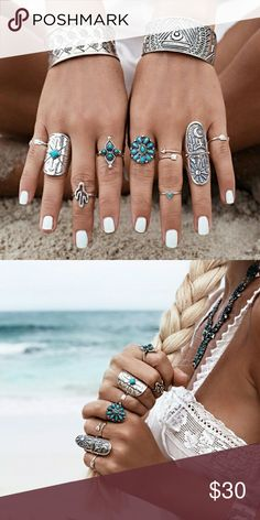 COMING SOON! Antique Silver plated 9pc.set Turkish Vintage Bohemian Midi Rings  Please like ❤ this item to be notified when it's available. I will drop the price to trigger a notification. Jewelry Rings