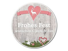 """rundes Schild """"Frohes Fest"""""""