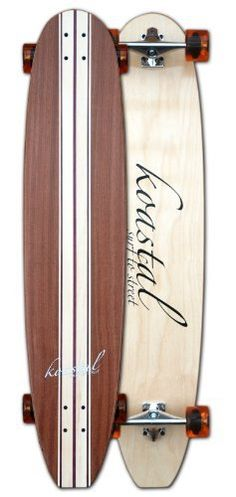 """Classic longboard skateboard by Koastal by Koastal. $145.00. Shape:Full rocker nose to tail. Wood:Aspen, Mahogany, and Purple Heart. The core of this board is 7 ply maple.. Dimensions: L - 44"""" * W - 9.5"""". Bottom:Maple natural look.. Grip:Recycled clear grip material by LUCID GIRP. Comes Complete with: Hardware:Black hex head mounting hardware. Bearings:ABEC 5 oil filled Wheel: Koastal 70mm / 83a Trucks:Revenge Alpha II. Save 35%!"""