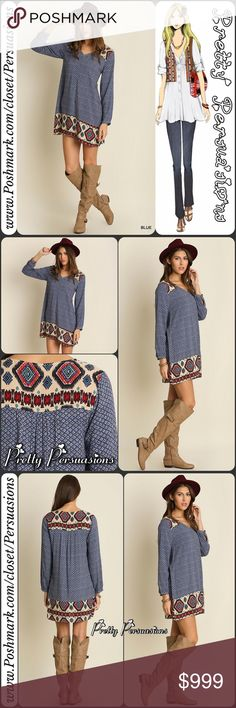 """NWT Border Print Boho Mini Shirt Dress Tunic NWT Border Print Boho Dress Tunic  Available in sizes S, M, L Measurements taken from a size small  Length: 35"""" Bust: 40"""" Waist: 44"""" Hips: 46""""  Features  • vintage inspired base print • boho tribal border print   • soft, breathable material  • long sleeves  • rounded v-neckline  • relaxed, easy fit   Cotton blend Color: Boho Blue Mix  Bundle discounts available  No pp or trades  Item # 1o1-5•18-0440BPD Pretty Persuasions Dresses"""