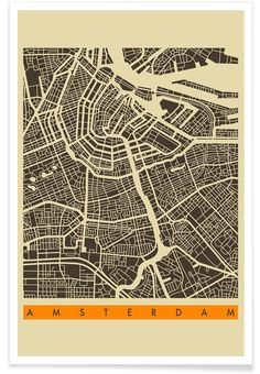 Amsterdam retro B&W map poster #Amsterdam #minimal #city #map #print