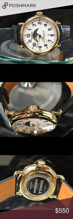 Shinola The Runwell quartz men's watch (16033) Brand new watch gold tone stainless steel men's watch. Moon  face. Date display. Genuine alligator leather  band. Shinola Accessories Watches
