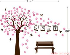 vinyl wall decal tree | Vinyl Wall Decal stickers baby livng bed room-love photo frame big ...