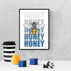 honey lover gift home decor, printable, bee decorations, honey bee wall decor, Bee Decorations, Frame It, Hanging Art, Gift For Lover, Printable Wall Art, Art For Sale, Bees, Butterflies, Insects