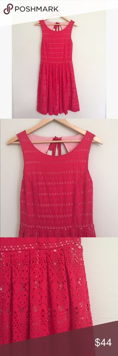 """Anthropologie Postmark Sunstream Lace Eyelet Dress Vibrant pink laser cut eyelet dress by Anthropologie. Open back detail with lace tie. Fully lined with nice stretch. Size small. Light wear from washing, no holes or stains. 38"""" long, 16"""" pit to pit, 28"""" waist. No trades, offers welcome! Anthropologie Dresses Midi"""