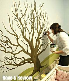 My Wonderful Walls: Forest Friends Wall Mural Stencil Kit Tree Wall Painting, Tree Wall Murals, Tree Wall Art, Mural Painting, Tree Art, Tree Paintings, Diy Painting, Tree Wall Stencils, Wall Painting Design