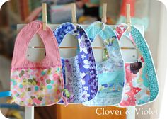 Clover & Violet — Little Baby Bibs {Tutorial} Here's a little bib project - this is how I make them too. But use something that's absorbent on the back (minky is not in the least bit absorbent). Like towel type of fabric or flannel. I would just go buy a lightweight towel and use that - it will be better quality than the toweling and flannel available at Joann's.