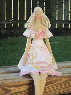 Fabric doll in pink dress blonde doll #Tildadoll #clothdoll by #HappyDollsByLesya on Etsy