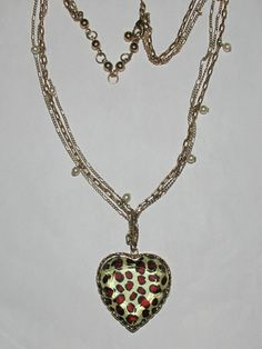 [Used] Betsey Johnson Leopard Heart Necklace. Starting at $5 on Tophatter.com!
