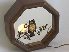vintage owl and lamp mirror- I love this