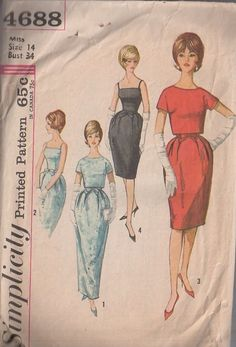 MOMSPatterns Vintage Sewing Patterns - Simplicity 4688 Vintage 60's Sewing Pattern SENSATIONAL Unique Puffed Bell Skirt Mother of The Bride Evening Gown, Cocktail Party Dress, Cropped Overblouse Topper WOW!