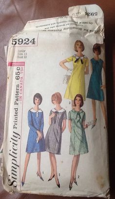 1960's Simplicity 5924 A Line Dress Pattern by ContemporaryVintage, $10.00