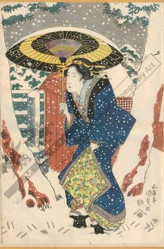 Utagawa Kunisada Title:View of the Sangen teahouse in the snow near Fukagawa Hachiman shrine in Edo Date:from 1820 to 1840