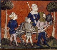 BNF Français 12399, fol. 39v, Chasse au cerf (flèches à al ceinture, empennage en bas)
