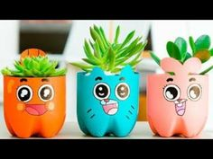 The Amazing World of Gumball Plastic Bottle Planter, Plastic Bottle Crafts, Diy Bottle, Plastic Bottles, Kids Crafts, Diy And Crafts, Craft Projects, Flower Pot Crafts, Flower Pots