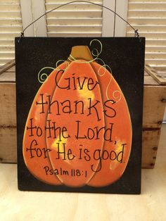 Large Black and Orange Pumpkin Scripture Door by SouthernSupply