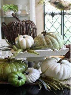 Thrifty Fall Centerpiece wrap big pumpkin upstairs like this one Hallowen Ideas, Halloween Decorations, Pumpkin Crafts, Fall Crafts, Fall Home Decor, Holiday Decor, Autumn Decorating, Decorating Pumpkins, Decorating Ideas