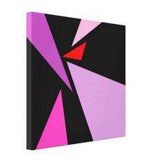 Abstract triangles red violet black Gallery Wrapped Canvas