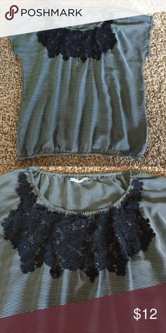Maurice's top Navy and white stripe, navy floral lace, elastic waist, excellent condition, worn once Maurices Tops Blouses
