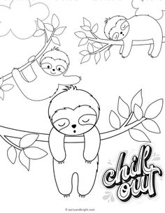 Baby Sloth, Cute Sloth, Baby Coloring Pages, Coloring Sheets, Sloth Drawing, Elsa Birthday Party, Printable Pictures, Cute Animals, Paper Crafts