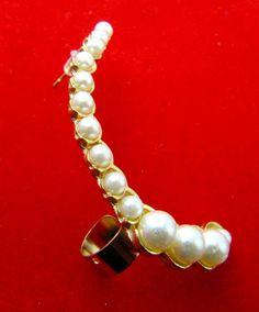 Pearl Earrings Half Moon