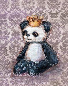 Princess Panda Panda Nursery Art Art print by JennyDaleDesigns, $23.00