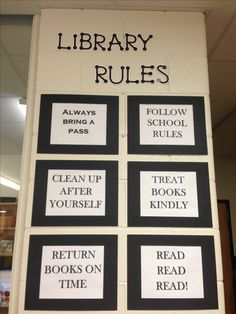 high school library rules Springs Valley Jr. Sr. High School School Library Decor, Library Ideas, Library Skills, School Library Displays, Library Themes, Library Organization, Elementary School Library, Library Activities, Library Lessons