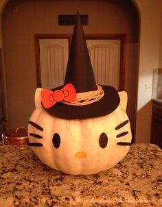 Hello Kitty Halloween Pumpkin Halloween Birthday, Holidays Halloween, Halloween Kids, Halloween Pumpkins, Happy Halloween, Halloween Dance, Pumpkin Decorating Contest, Pumpkin Contest, Halloween Projects