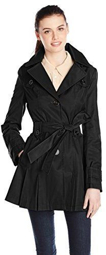 $90, Via Spiga Single Breasted Belted Trench Coat With Hood. Sold by Amazon.com. Click for more info: https://lookastic.com/women/shop_items/307074/redirect