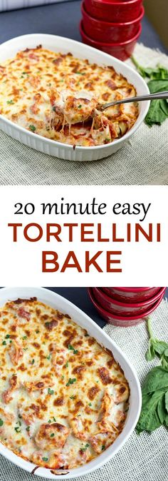 Great weeknight dinner - Twenty Minute Easy Tortellini Bake I don't always have time to make a time consuming dinner. But have no fear! Dinner is ready in twenty minutes with this Twenty Minute Easy Tortellini Bake! Fast Dinner Recipes, Fast Dinners, Quick Meals, Easy Pasta Dinners, Fast Easy Dinner, Easy Dinner Recepies, Easy Pasta Bake, Quick Family Dinners, Super Easy Dinner