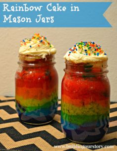 The right way to bake a cake in a jar and AVOID a Pinterest Fail!  DIY: Rainbow Cake in a Mason Jar #recipe