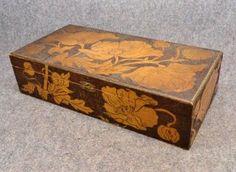 Flemish Art Burnt Wood | Antique Large Carved Pyrography Flemish Art Box Poppies 1800s photo