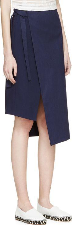 Rejina Pyo Navy Samia Wrap Skirt