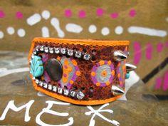 bling it on! Vintage Rhinestone Leather Aztec Pattern Cuff by Soclichejewelry