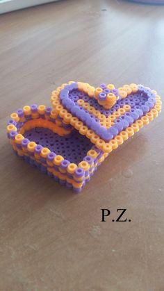 Heart box perler beads by Piazobel100