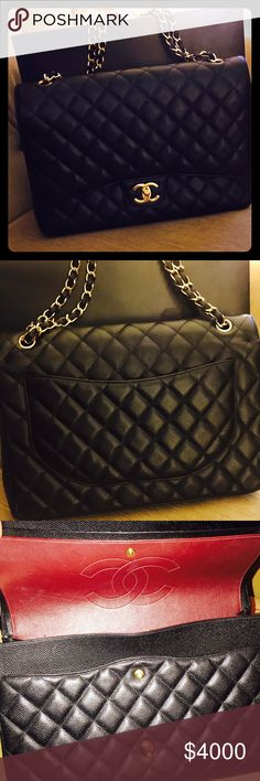 SOLD Beautiful classic jumbo size Chanel purse with original authenticity tag and box when purchase CHANEL Bags Shoulder Bags